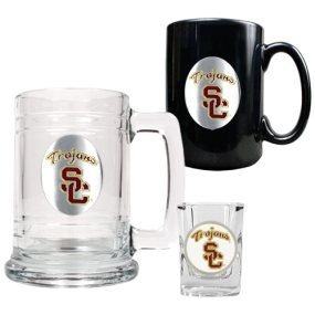 USC Trojans 15oz Tankard, 15oz Ceramic Mug & 2oz Shot Glass Set