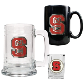 N.C. State Wolfpack 15oz Tankard, 15oz Ceramic Mug & 2oz Shot Glass Set