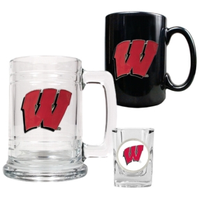 Wisconsin Badgers 15oz Tankard, 15oz Ceramic Mug & 2oz Shot Glass Set