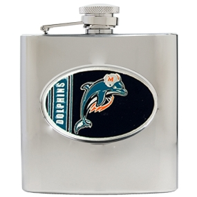 Miami Dolphins 6oz Stainless Steel Hip Flask