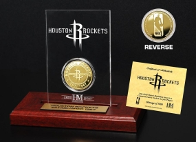 Houston Rockets 24KT Gold Coin Etched Acrylic