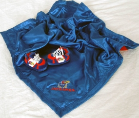 Kansas Jayhawks Baby Blanket and Slippers