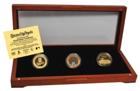 KANSAS CITY ROYALS 24kt Gold and Infield Dirt 3 Coin Set