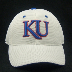 Kansas Jayhawks White Elite One Fit Hat