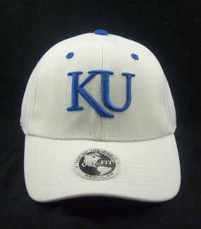 Kansas Jayhawks White One Fit Hat