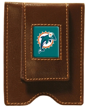 Miami Dolphins Brown Leather Money Clip