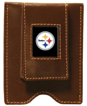 Pittsburgh Steelers Brown Leather Money Clip