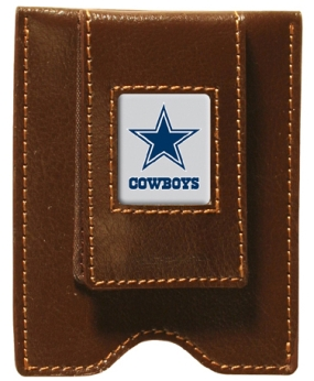 Dallas Cowboys Brown Leather Money Clip