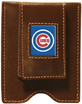 Chicago Cubs Brown Leather Money Clip
