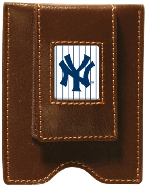 New York Yankees Brown Leather Money Clip