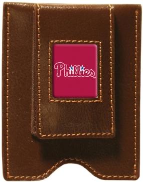 Philadelphia Phillies Brown Leather Money Clip