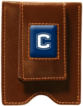 Connecticut Huskies Brown Leather Money Clip