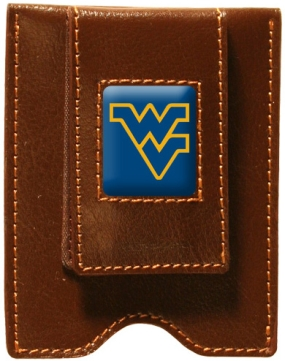 West Virginia Mountaineers Brown Leather Money Clip