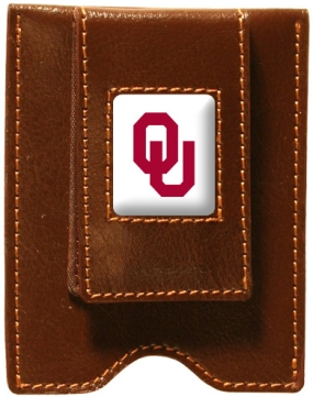 Oklahoma Sooners Brown Leather Money Clip