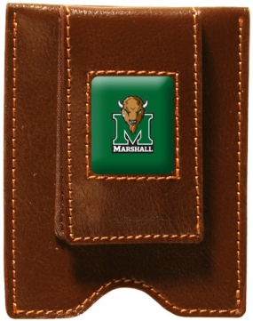 Marshall Thundering Herd Brown Leather Money Clip