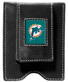 Miami Dolphins Black Leather Money Clip