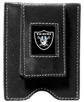 Oakland Raiders Black Leather Money Clip