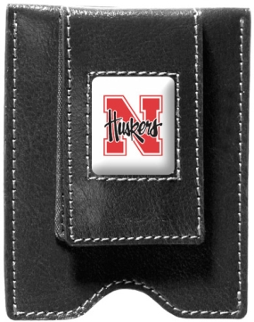 Nebraska Cornhuskers Black Leather Money Clip