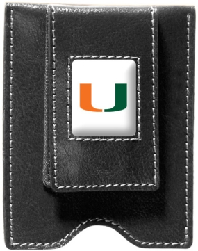 Miami Hurricanes Black Leather Money Clip