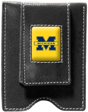 Michigan Wolverines Black Leather Money Clip