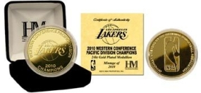 Los Angeles Lakers 2010 Division Champs 24KT Gold Coin
