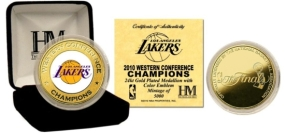 Los Angeles Lakers 2010 Western Conference Champions 24KT Gold and Color Coin