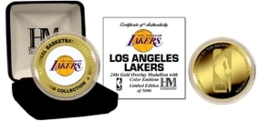 LOS ANGELES LAKERS 24KT GOLD AND COLOR TEAM COIN