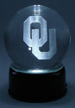 OKLAHOMA U LOGO ETCHED IN CRYSTAL