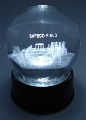 SAFECO FIELD ETCHED IN A CRYSTAL