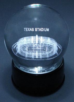 TEXAS STADIUM ETCHED IN CRYSTAL