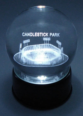 CANDLESTICK PARK WITH FOOTBALL FIELD CONFIGURATION ETCHED IN CRYSTAL