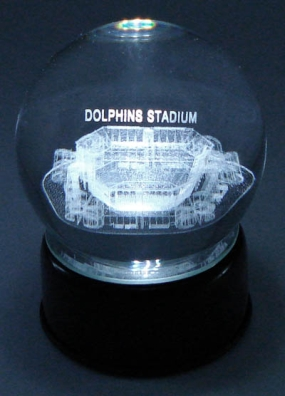 DOLPHIN STADIUM ETCHED IN CRYSTAL