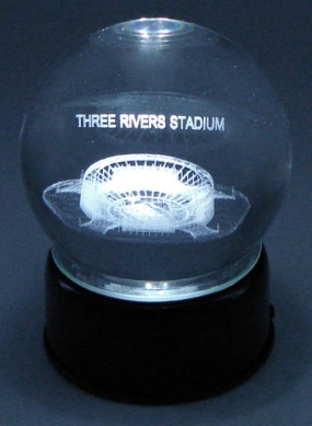 THREE RIVERS STADIUM ETCHED IN CRYSTAL