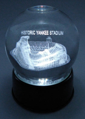 HISTORICAL YANKEE STADIUM ETCHED IN CRYSTAL