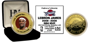 Lebron James 2008 - 09 NBA MVP 24KT Gold and Color Coin