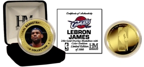 Lebron James 24KT Gold and Color Coin