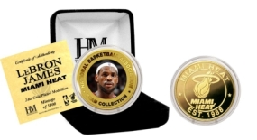 Lebron James Miami Heat24KT Gold and Color Coin