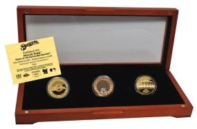 MILWAUKEE BREWERS 24kt Gold and Infield Dirt 3 Coin Set