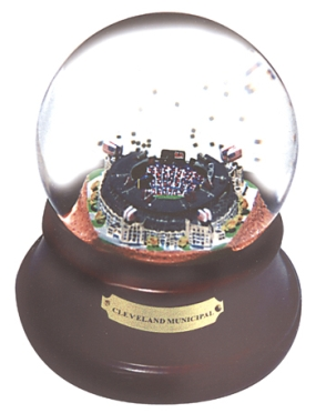 CLEVELAND MUNICIPAL STADIUM BASEBALL FIELD CONFIGURATION MUSICAL GLOBE