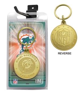 Miami Dolphins Bronze Bullion Keychain