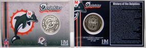 Miami Dolphins Team History Silver Coin Card