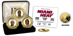 "Miami Heat ""Big Three"" 24KT Gold & Color 3 Coin Set"