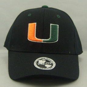 Miami Hurricanes Black One Fit Hat