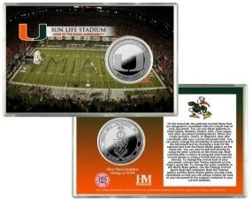 University of Miami Sun Life Stadium Silver Coin Card