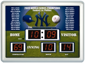 New York Yankees 2009 World Series Champions Scoreboard Clock