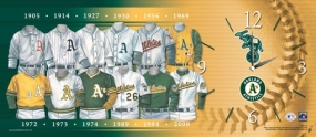 Oakland A's Uniform History Clock