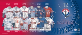 Texas Rangers Uniform History Clock