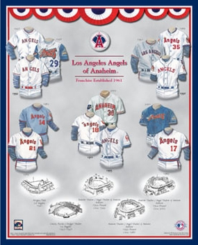Anaheim Angels 11 x 14 Uniform History Plaque