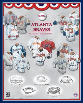 Atlanta Braves 11 x 14 Uniform History Plaque
