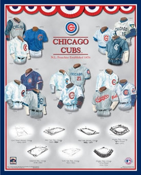 Chicago Cubs 11 x 14 Uniform History Plaque